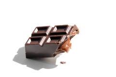 Broken chocolate candybar with caramel stuffing Royalty Free Stock Photos