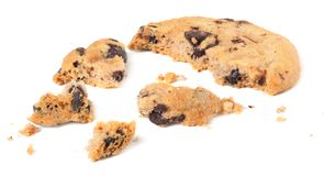 broken chocolate chip cookies isolated on white background. Sweet biscuits. Homemade pastry. royalty free stock photography