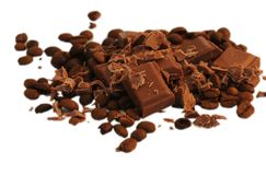 Broken chocolate and coffee beans. Isolated on white background Royalty Free Stock Images