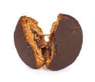 Broken chocolate cookies with liquid filling Stock Photo