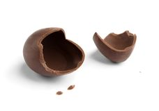 Broken chocolate egg Royalty Free Stock Photo