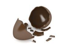 Broken chocolate egg. On white background Stock Photos