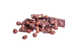 A broken chocolate with nuts Stock Photography