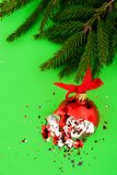 Broken Christmas ball on green background. Broken red Christmas ball on green background with tree branch stock photography