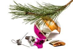 Broken Christmas ball lies beneath branch of the pine, isolated Stock Photos