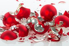 Broken Christmas balls over a white background Royalty Free Stock Photo
