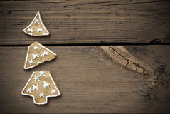 Broken Christmas Tree Cookie With Frame. Broken Christmas Tree Cookie On Wooden Background With Copy Space With Frame Stock Image