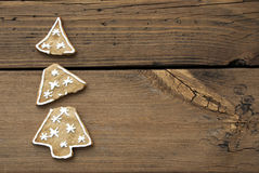 Broken Christmas Tree Cookie. On Wooden Background With Copy Space Stock Photography