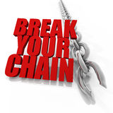 Broken chrome chain and freedom concept. Broken chrome chain on white background, freedom concept image Stock Photo