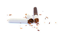 Broken cigarette stock photo
