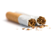 Broken cigarette isolated Stock Photos