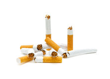 Broken cigarette. No smoking. Broken cigarette on a white background close-ups. No smoking Royalty Free Stock Photo