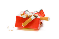 Broken cigarette. No smoking. No smoking. Broken cigarette on a white background Royalty Free Stock Photos