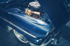 Broken Classic Car Closeup. Broken Classic Car with Opened Hood. Closeup Photo. Retro Transportation Theme Stock Images