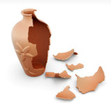 Broken clay vase  on white background. 3d rendering Royalty Free Stock Images