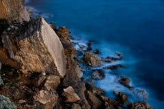 Broken cliffs at twilight Royalty Free Stock Photo