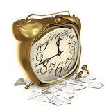 A broken clock. Broken alarm clock with broken glass on a white background Stock Photo