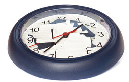 Broken clock. Wall clock with a cracked dial Royalty Free Stock Photos