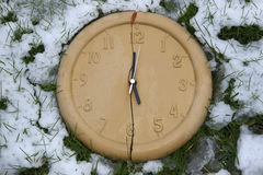 Broken clock face in the frozen snow Royalty Free Stock Images