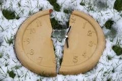 Broken clock face in the snow Stock Photo
