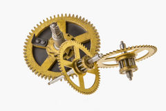 Broken clock mechanism isolated on white Stock Image