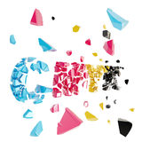 Broken cmyk, smashed word explosion Stock Image