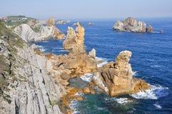 Broken coast at Liencres (Spain) Royalty Free Stock Photo