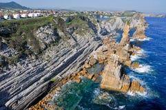 Broken coast  at Liencres (Spain) Stock Images