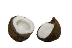 The broken coco. The present nut, broken on a two half, of a coco Royalty Free Stock Image