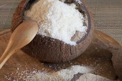 Broken coconut and coconut flour Royalty Free Stock Photo