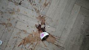 Broken coffe cup stock footage