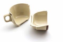 Broken coffee cups. Royalty Free Stock Photo