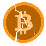 Broken coin with a bitcoin sign Royalty Free Stock Images