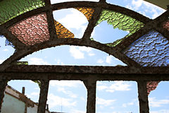Broken Colored Glass Window Stock Photography