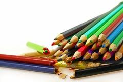 Broken colored pencils Stock Image
