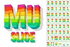 Broken colorful alphabet. Vector illustration  of bright fresh block font Royalty Free Stock Photography
