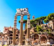 Broken Columns in Roman Forum Stock Photo