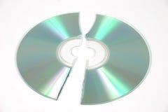 Broken compact disc. Cracked CDROM disc stock photos