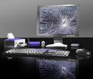 Broken computer. A broken computer after being smashed Royalty Free Stock Images