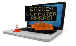 Broken computer. Roadworks cart on laptop displaying broken computer warning Stock Photo