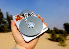 Broken computer hard disk in man hand Royalty Free Stock Photos