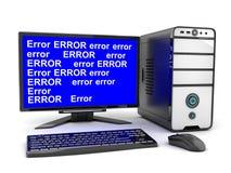 Broken computer and monitor error Stock Photos
