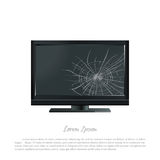 Broken computer monitor. The screen cracked. Damaged TV Royalty Free Stock Photos