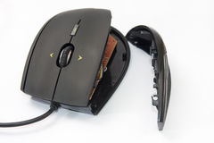 Broken computer mouse on the white background Stock Photo