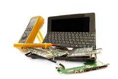 Broken computer in for repair service Stock Photos