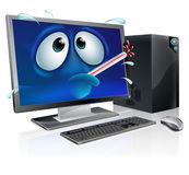 Broken computer virus cartoon Stock Photo