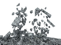 Broken Concrete Floor isolated on white background Stock Image