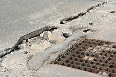 Broken Concrete Sidewalk Royalty Free Stock Photo