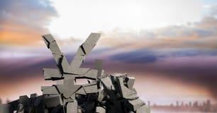 Broken concrete stone with Yen symbol with city sky. Digital composite of Broken concrete stone with Yen symbol with city sky vector illustration