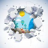 Broken concrete wall with beach and ocean outside. No More work. And Let`s Travel concept - illustration royalty free illustration